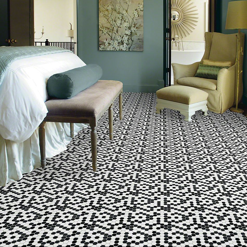 Shaw Floors Ceramic Solutions Geoscapes Hexagon Black/White 00151_CS50V