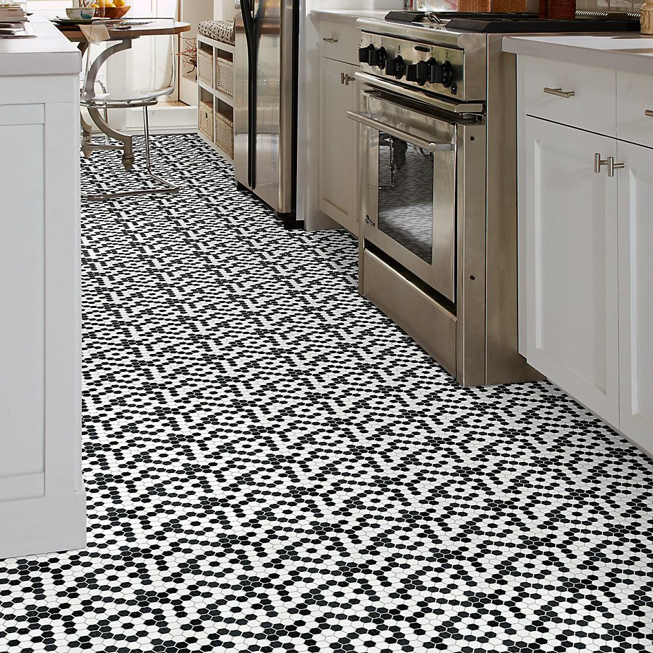 Shaw Floors Home Fn Gold Ceramic Geoscapes Hexagon Black/White 00151_TGJ78
