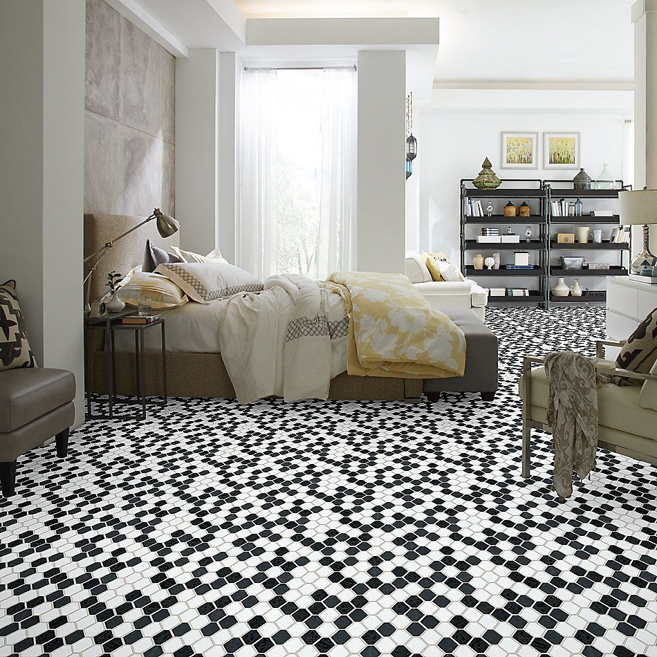 Shaw Floors Home Fn Gold Ceramic Geoscapes Diamond Black/White 00151_TGJ79
