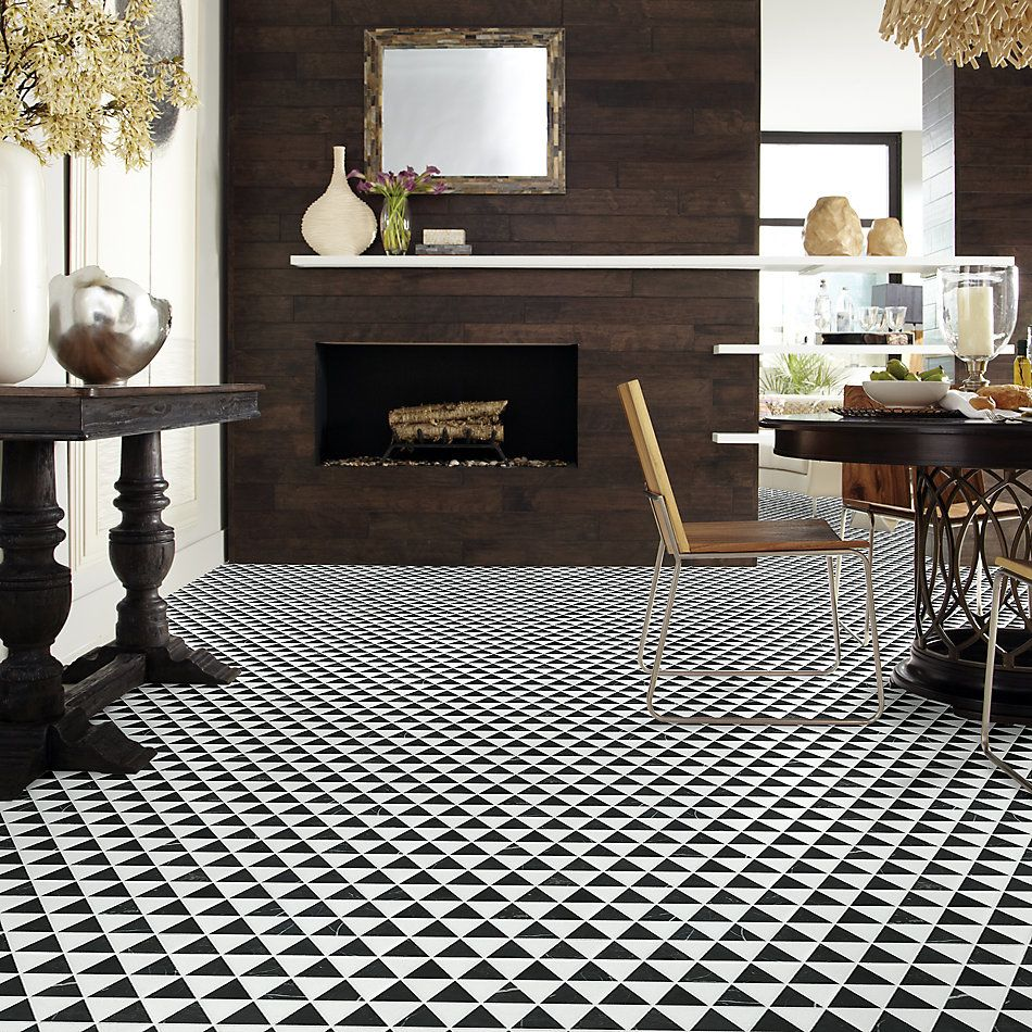 Shaw Floors Home Fn Gold Ceramic Estate Tri Mix Nero Marquina/Thassos 00159_TG37C