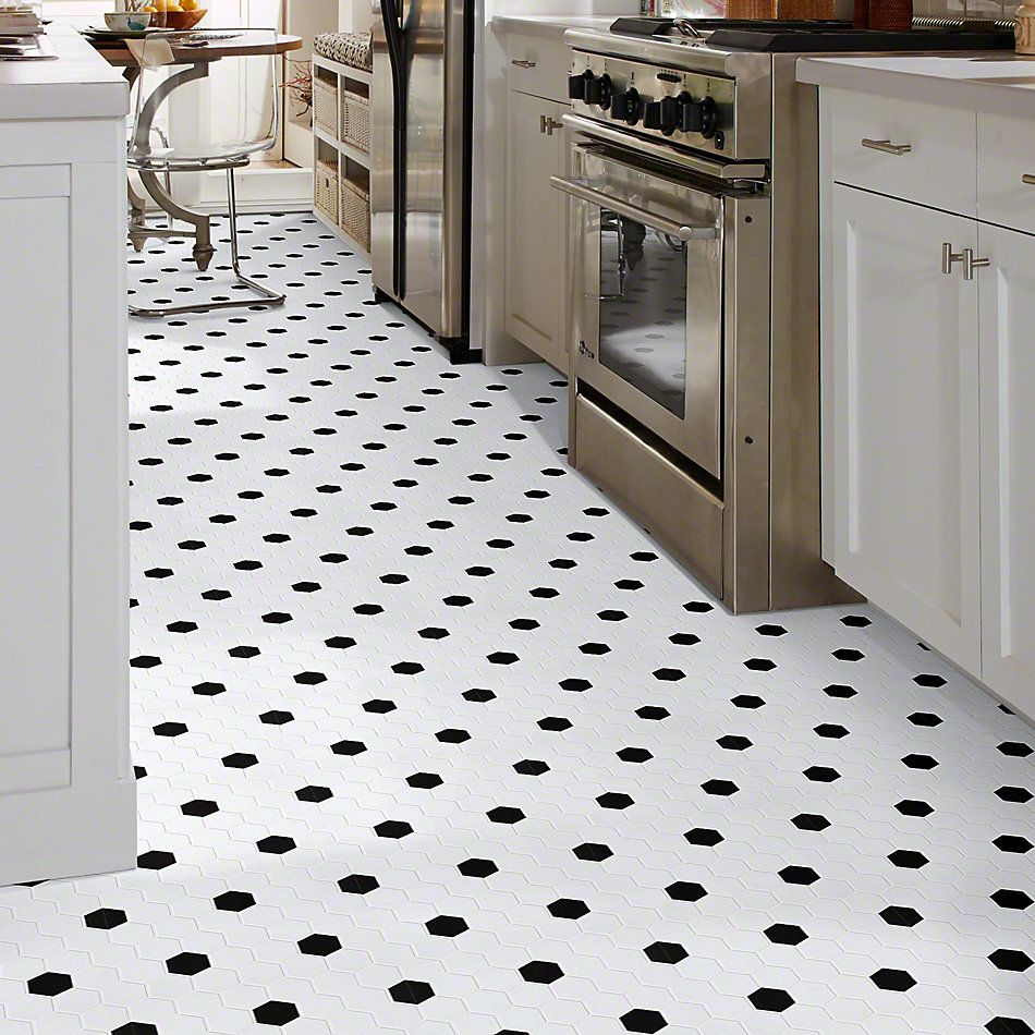 Shaw Floors Ceramic Solutions Elegance Hex 2″ Mosaics White/Black 00190_CS01Z