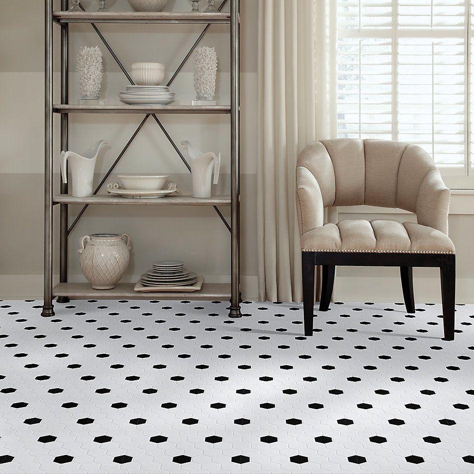 Shaw Floors Home Fn Gold Ceramic Baker Street Hex 2 Mosaics White/Black 00190_TG35B