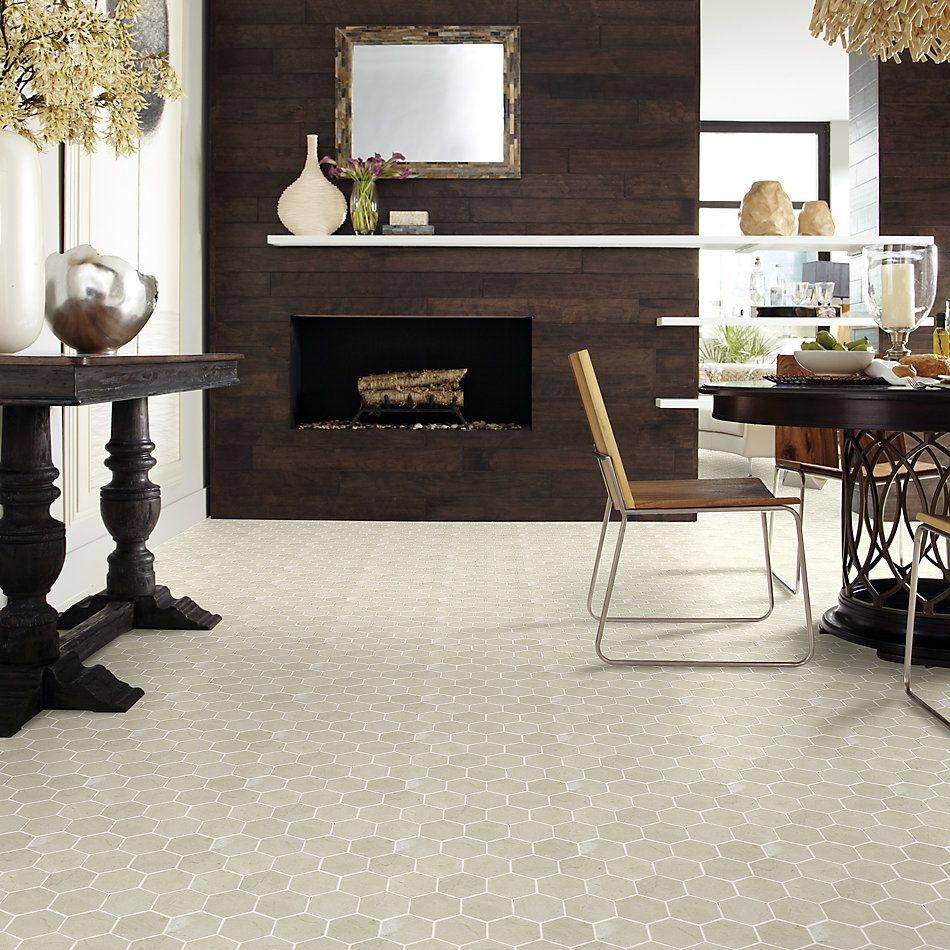 Shaw Floors Home Fn Gold Ceramic Estate Hexagon Mosaic Crema Marfil 00200_TGN87