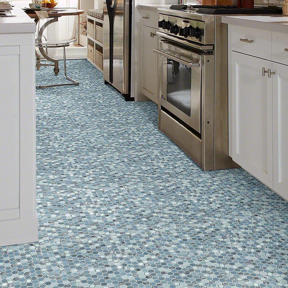 Shaw Floors Ceramic Solutions Molten Hexagon Glass Santorini 00400_CS52V
