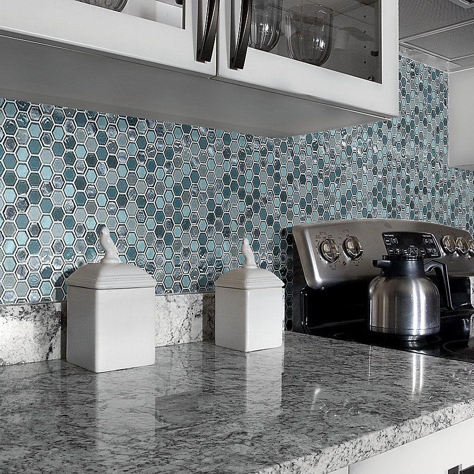 Shaw Floors Home Fn Gold Ceramic Molten Hexagon Glass Hydra 00460_TGJ82