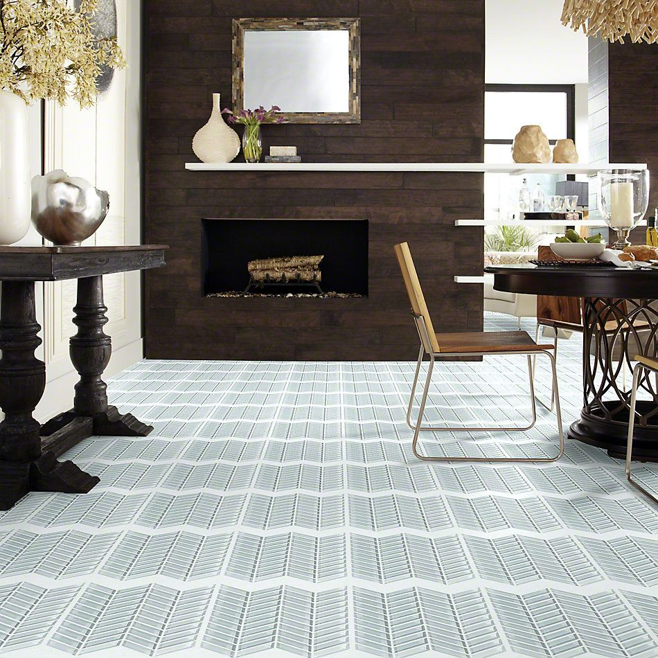 Shaw Floors Ceramic Solutions Cardinal Chevron Glass Mosaic Cloud 00500_CS15Z