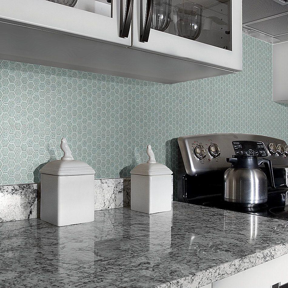 Shaw Floors Home Fn Gold Ceramic Geoscapes Hexagon Light Grey 00500_TGJ78
