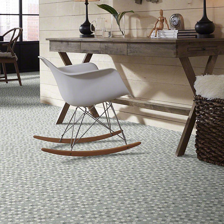 Shaw Floors Ceramic Solutions Chateau Penny Round Mosaic Bian/Carr/Blu Grigio 00511_CS29Z