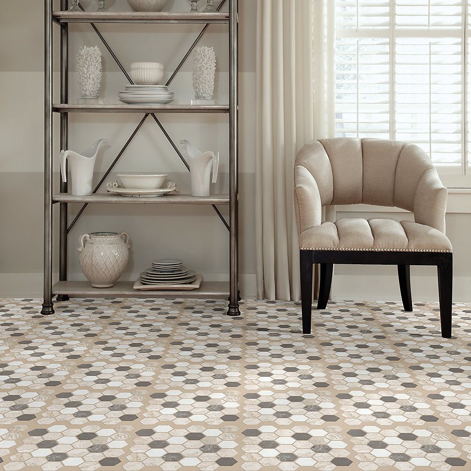 Shaw Floors Home Fn Gold Ceramic Del Ray Hexagon Mosaic Seamist 00522_TGL26