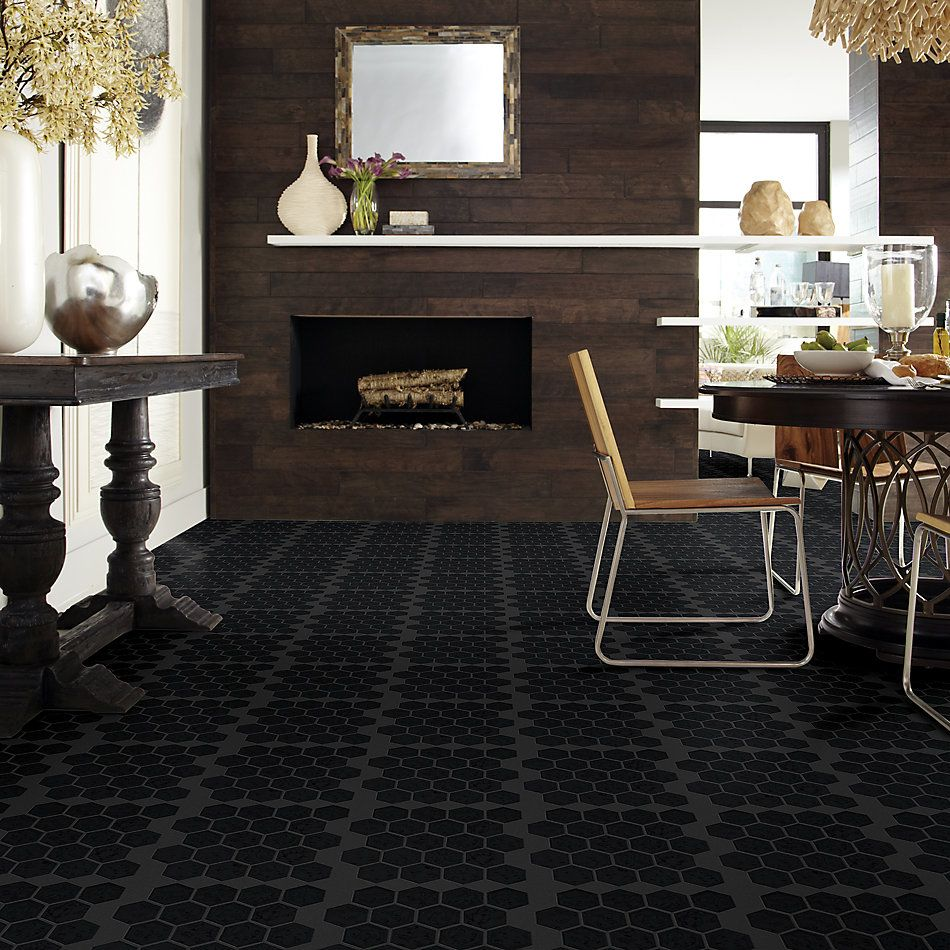 Shaw Floors Home Fn Gold Ceramic Geoscapes Hexagon Black 00555_TGJ78