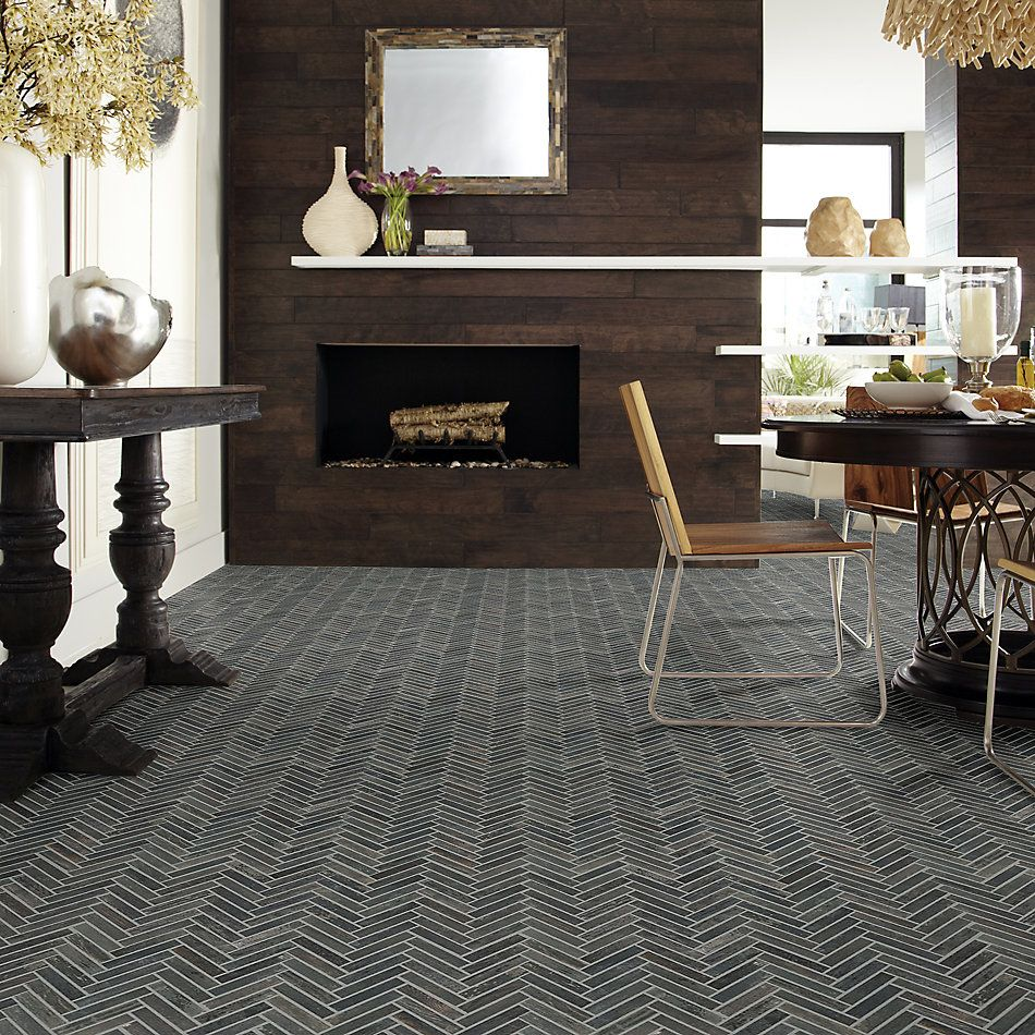 Shaw Floors Emberwood Herringbone Mosaic Carbon 00571_CS92Z
