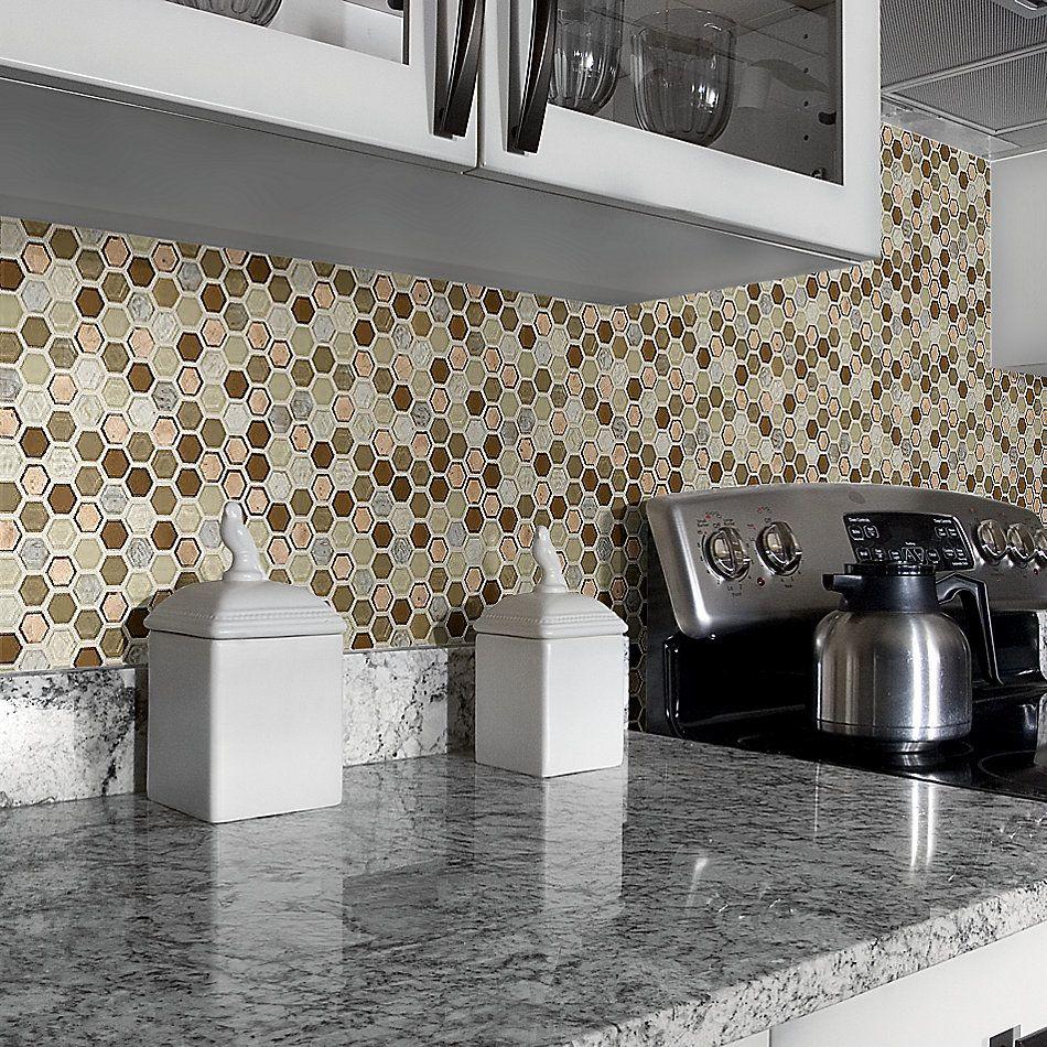 Shaw Floors Home Fn Gold Ceramic Molten Hexagon Glass Penny 00600_TGJ82