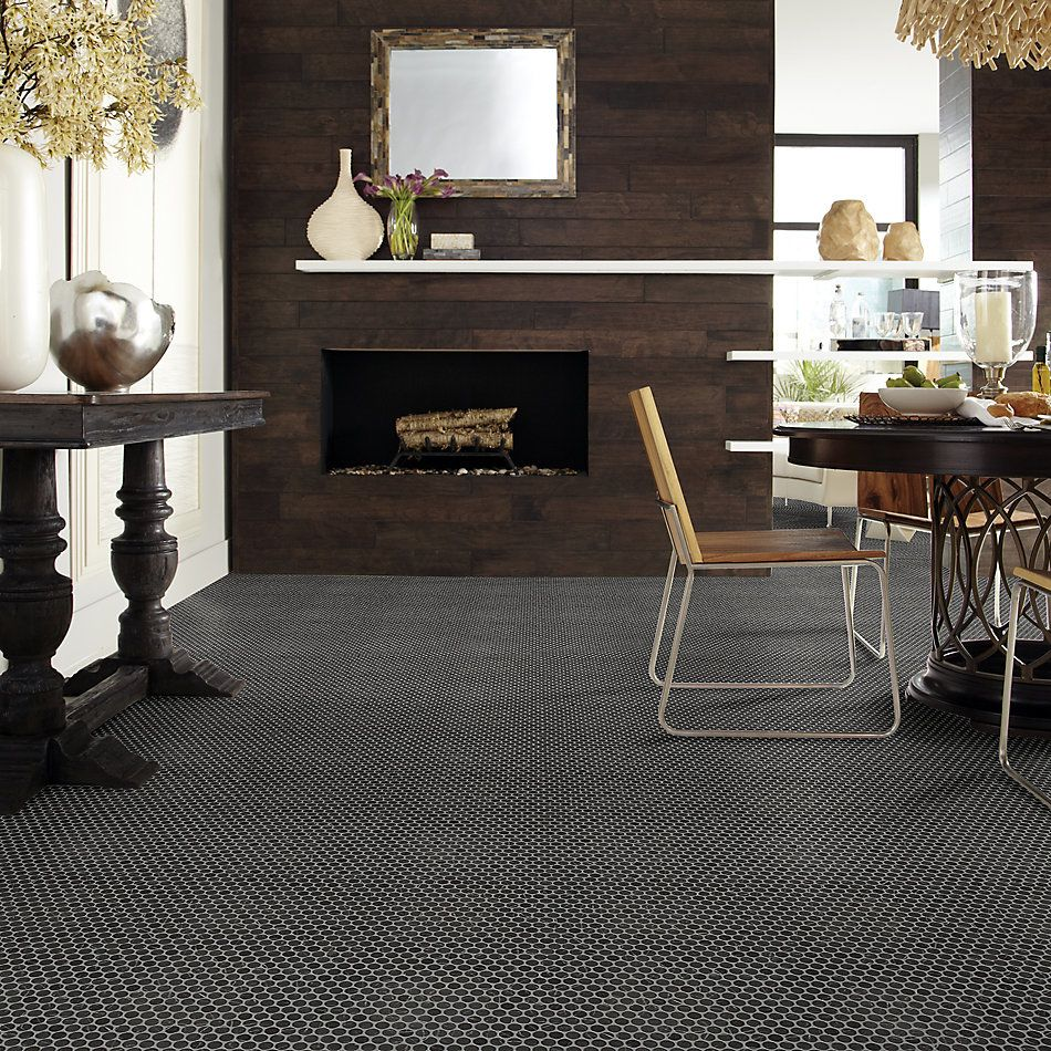 Shaw Floors Ceramic Solutions Gala Penny Round Black Tie 00900_266TS