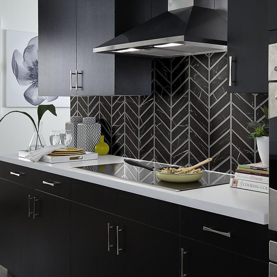 Shaw Floors Home Fn Gold Ceramic Affair Chevron Black Tie 00900_TG14E