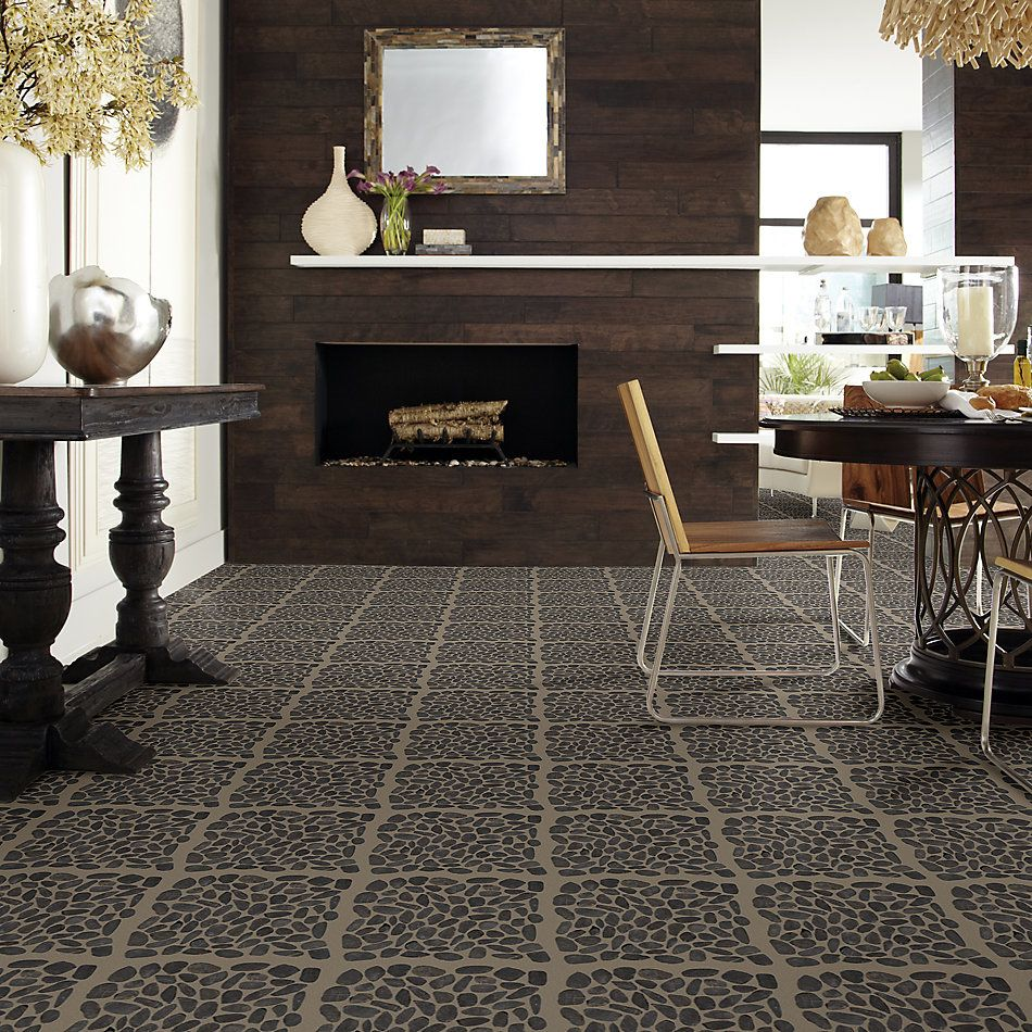 Shaw Floors Home Fn Gold Ceramic River Rock Sliced Volga Black 00900_TGL64