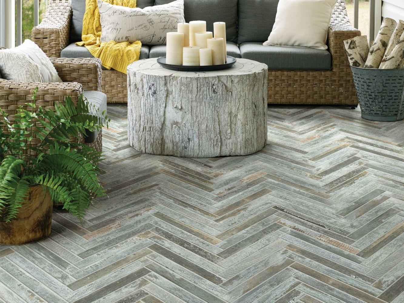 Shaw Floors Ceramic Solutions Fusion Herringbone Mosaic Steel 00571_190TS