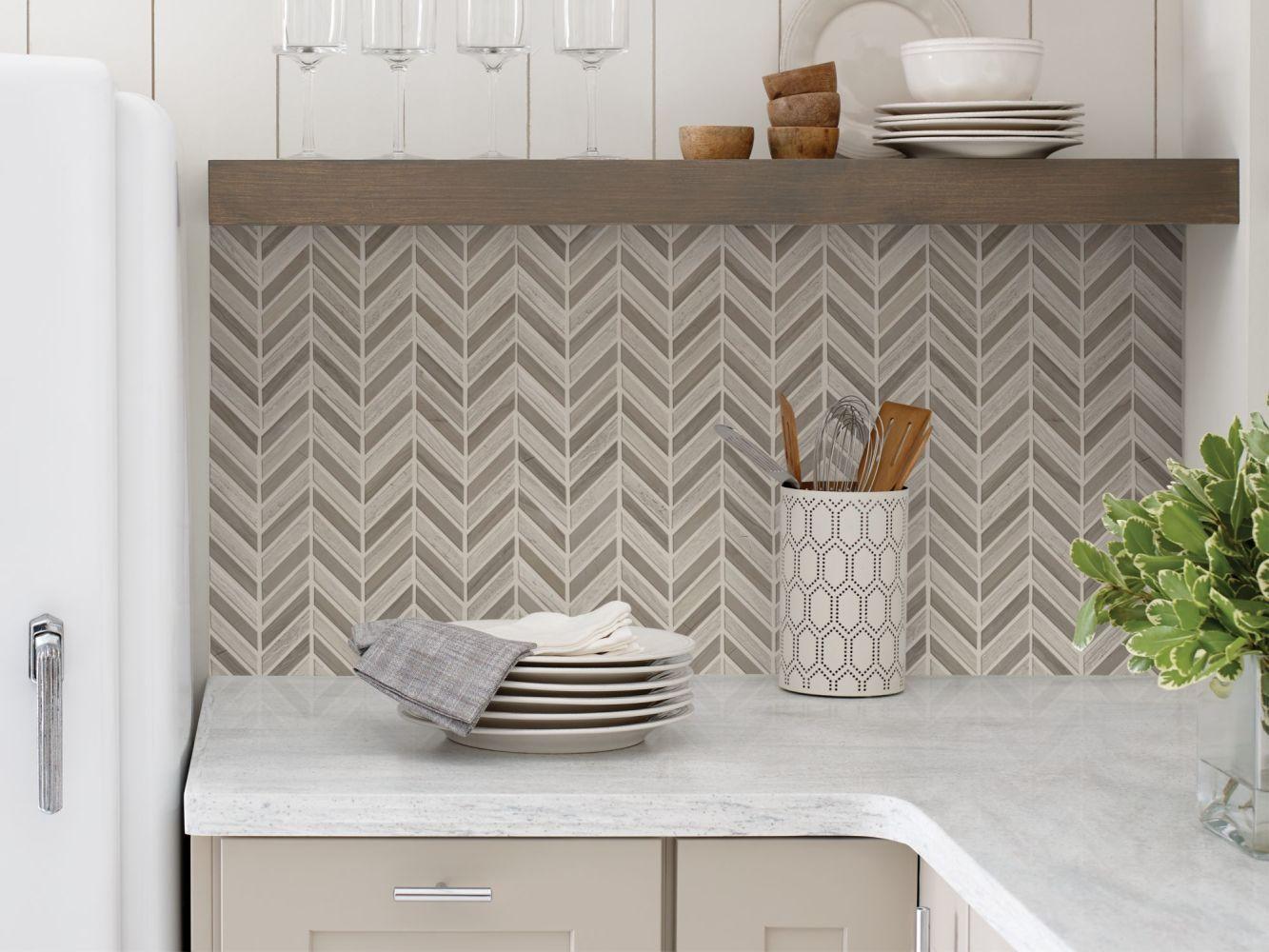 Shaw Floors Ceramic Solutions Chateau Chevron Mosaic Rockwood/Urban Grey 00555_CS23Z