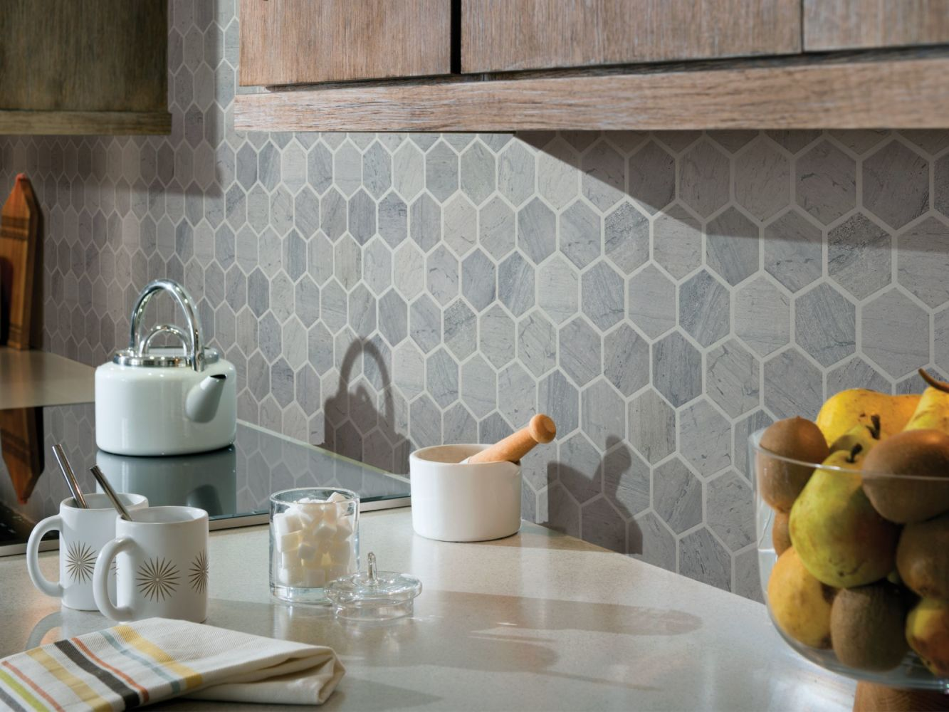 Shaw Floors Ceramic Solutions Chateau Hexagon Mosaic Blue Grigio 00550_CS56P