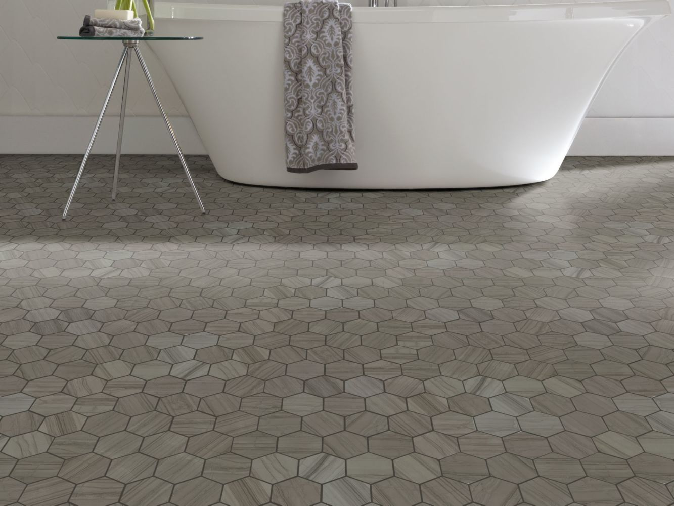 Shaw Floors Ceramic Solutions Chateau Hexagon Mosaic Urban Grey 00570_CS56P
