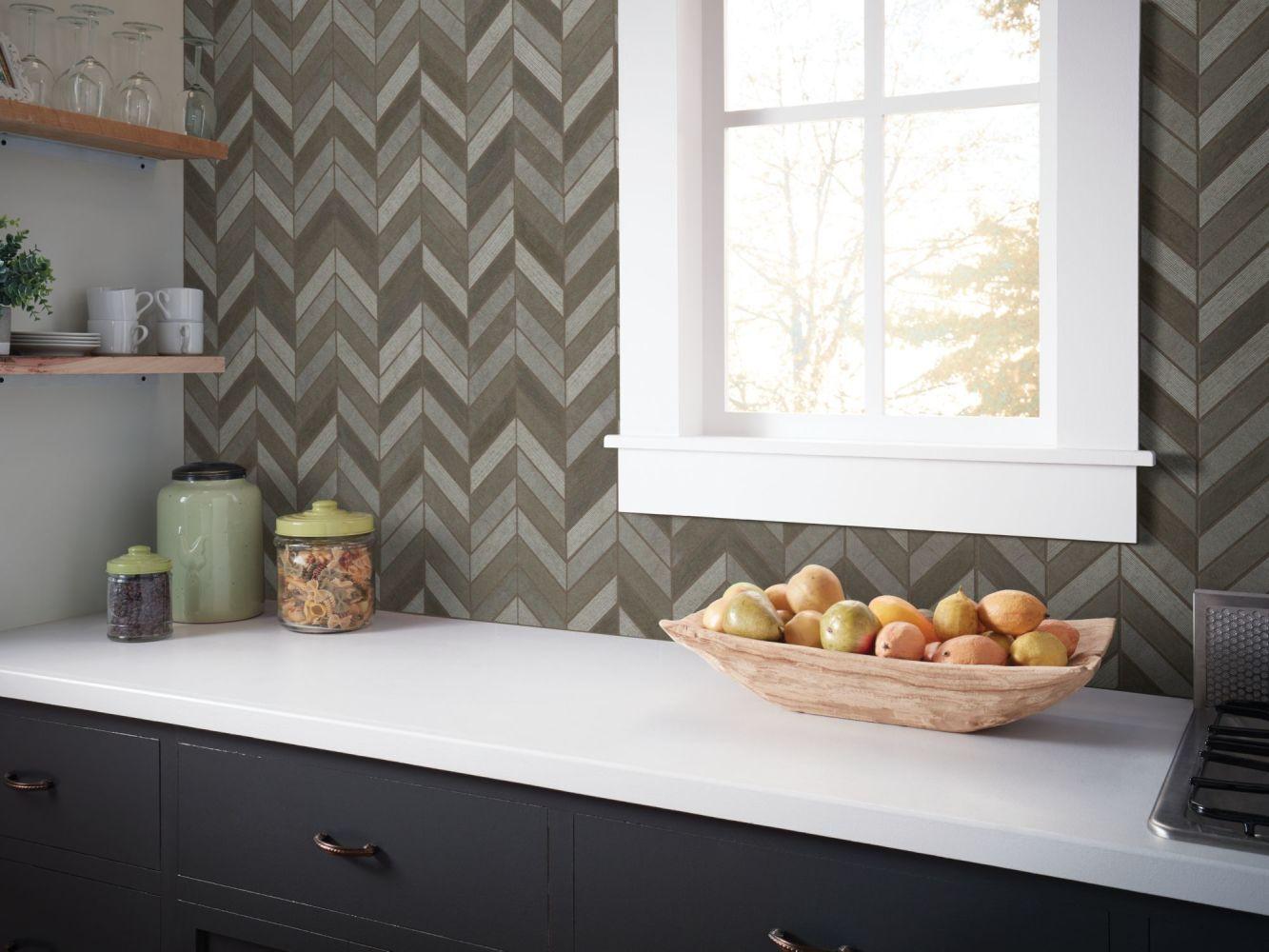 Shaw Floors Home Fn Gold Ceramic Del Ray Chevron Foussana Gray 00530_TG43C