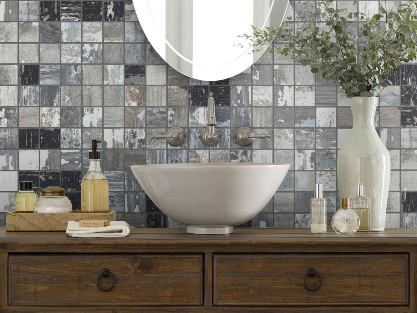 Shaw Floors Home Fn Gold Ceramic Sleepy Hollow Mosaic Hickory 00540_TG48C