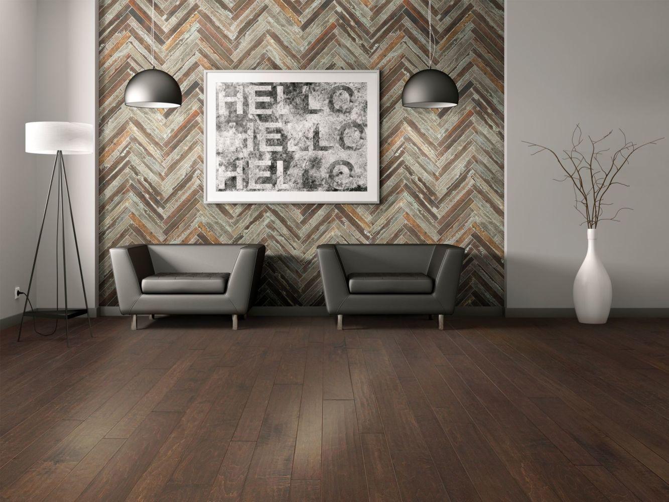 Shaw Floors Home Fn Gold Ceramic Forge Herrinbone Mosaic Iron 00267_TG54D