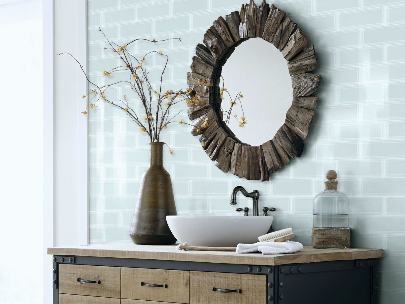 Shaw Floors Home Fn Gold Ceramic Principal 3×9 Beveled Glass Ti Skylight 00150_TG75B