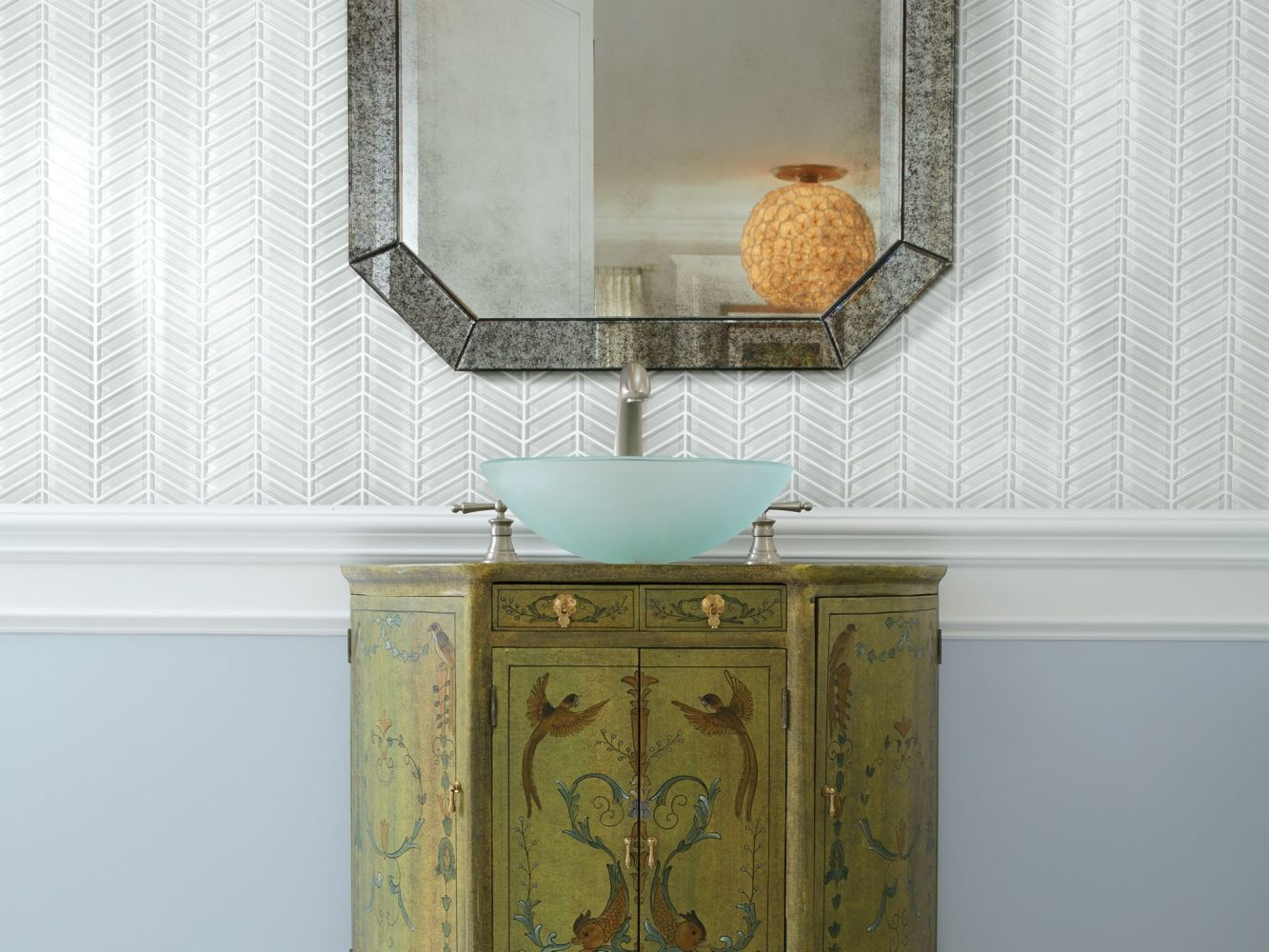 Shaw Floors Home Fn Gold Ceramic Principal Chevron Glass Mo Ice 00100_TG78B