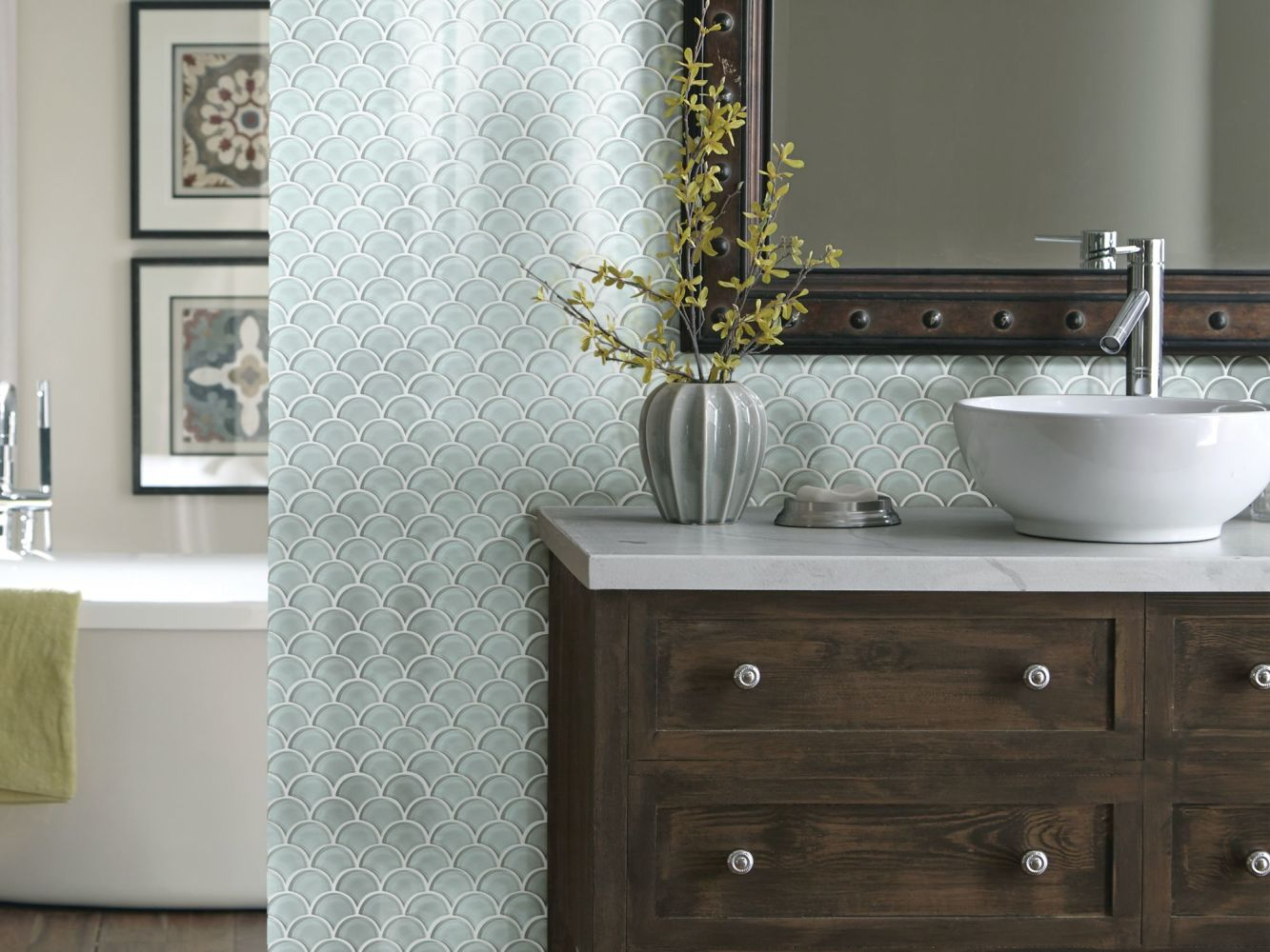 Shaw Floors Home Fn Gold Ceramic Principal Fan Glass Mosaic Cloud 00500_TG79B