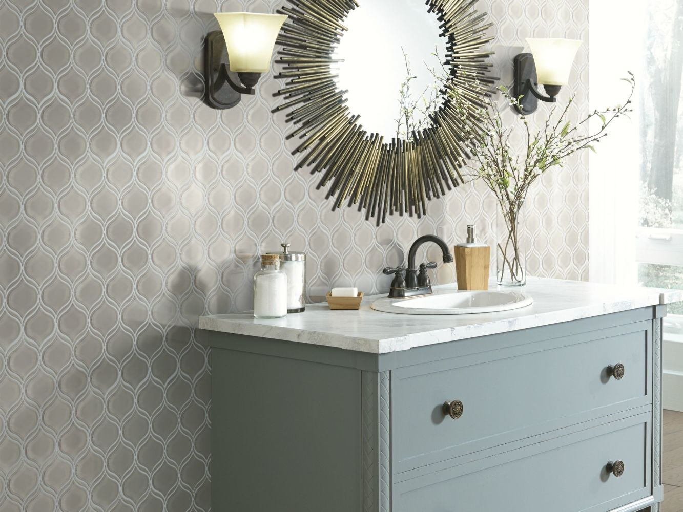 Shaw Floors Home Fn Gold Ceramic Principal Lantern Glass Mosaic Mist 00250_TG80B