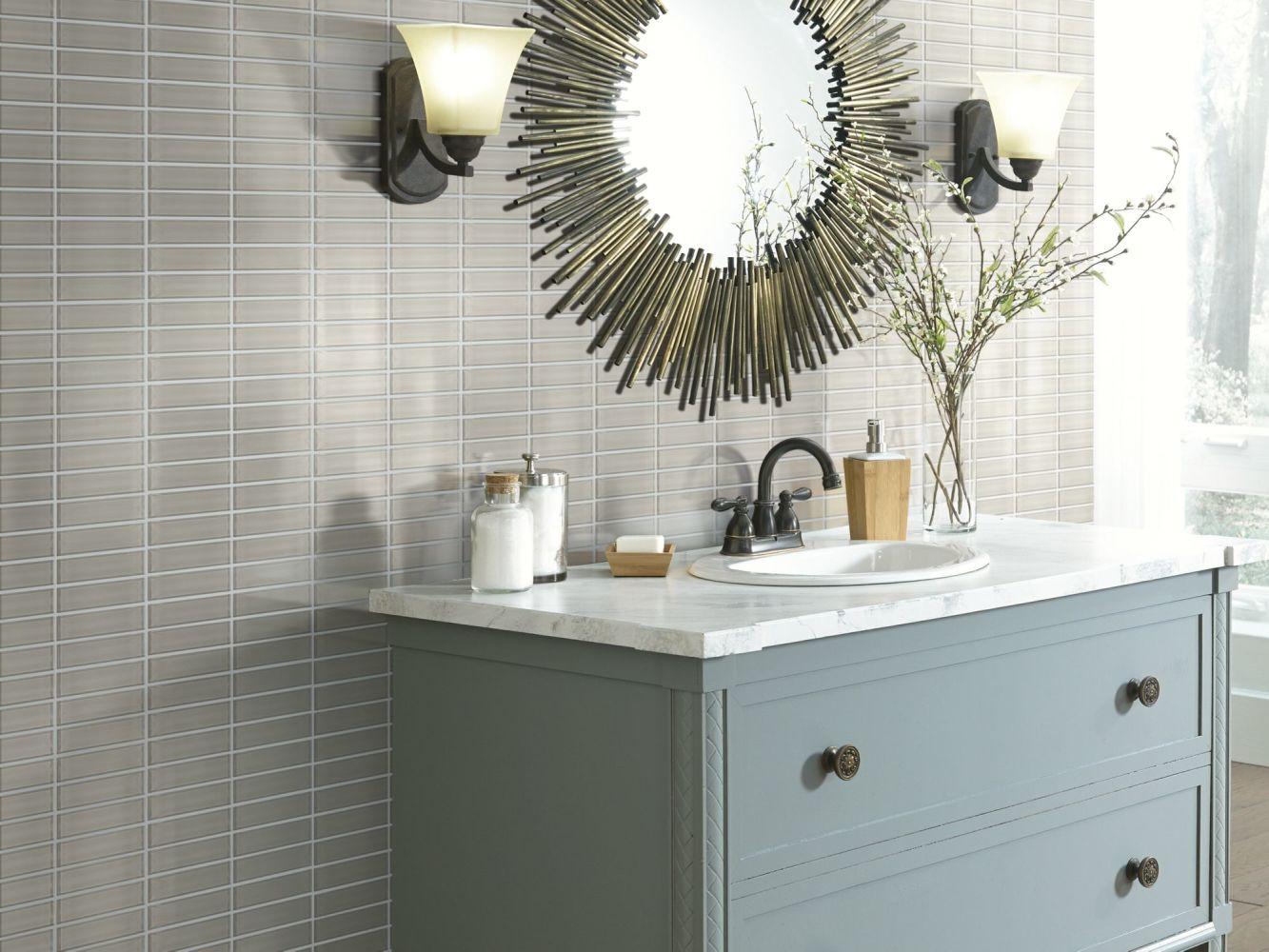 Shaw Floors Home Fn Gold Ceramic Principal Stacked Glass Mosaic Mist 00250_TG83B