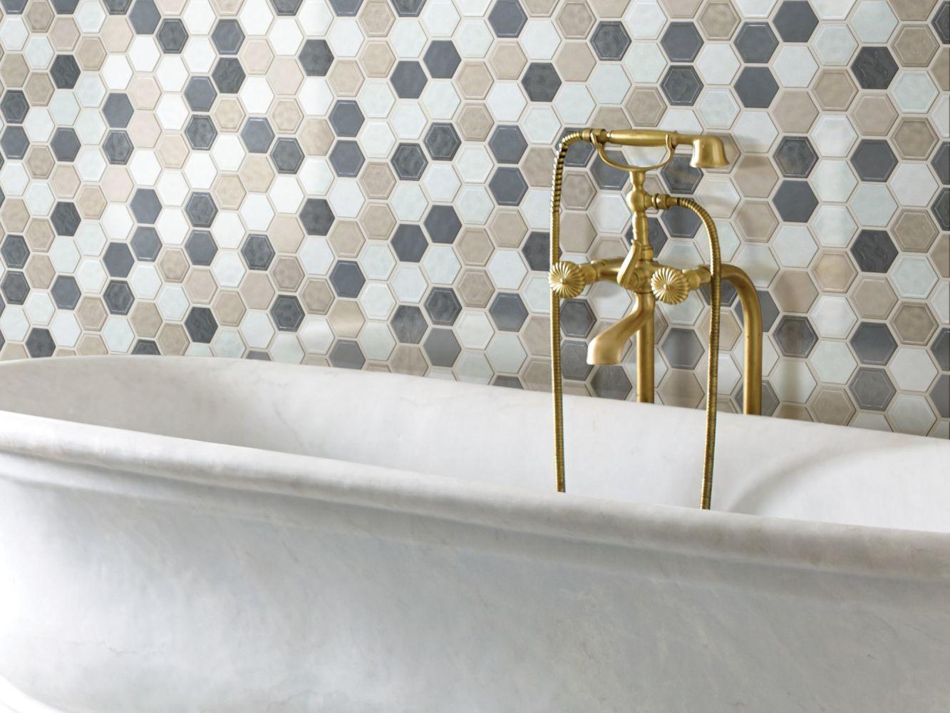 Shaw Floors Home Fn Gold Ceramic Geoscapes Hexagon Warm Blend 00520_TGJ78
