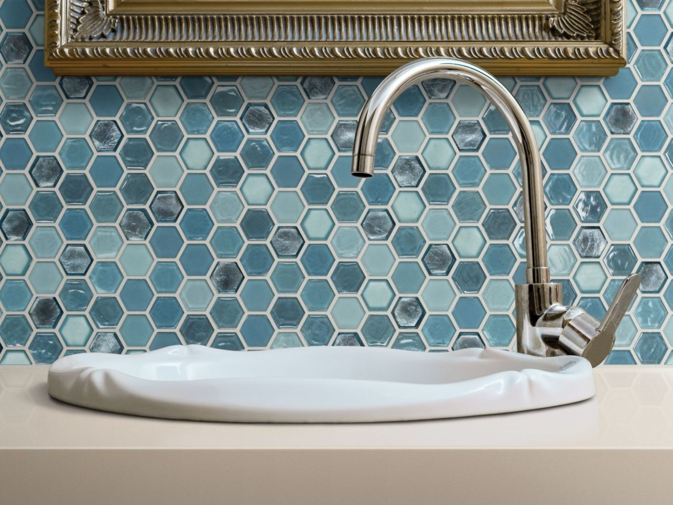 Shaw Floors Home Fn Gold Ceramic Molten Hexagon Glass Santorini 00400_TGJ82