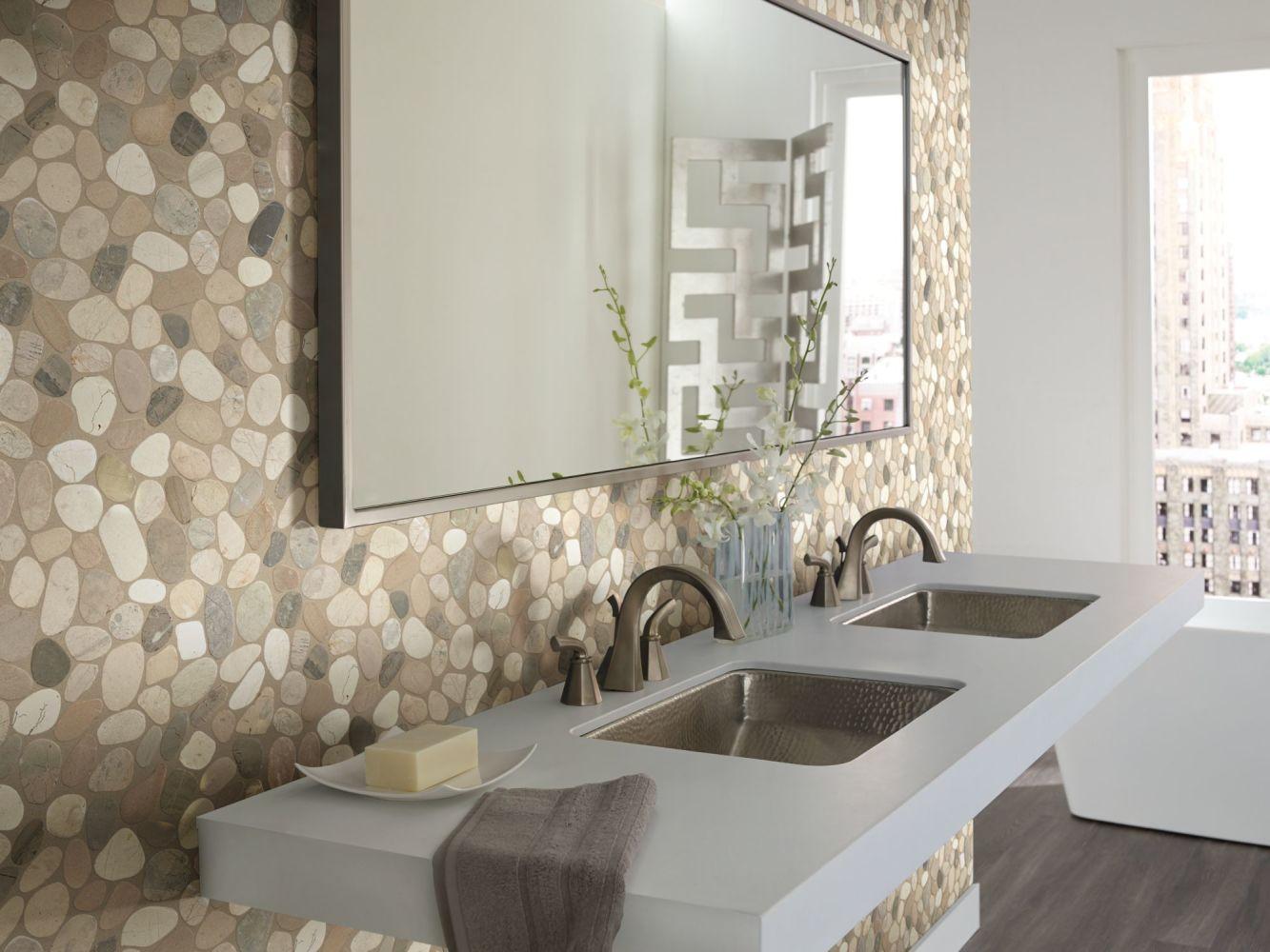 Shaw Floors Home Fn Gold Ceramic River Rock Sliced Harmony Warm Blend 00125_TGL64