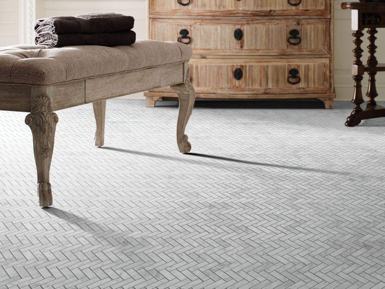 Shaw Floors Home Fn Gold Ceramic Estate Herringbone Mosaic Bianco Carrara 00150_TGN88