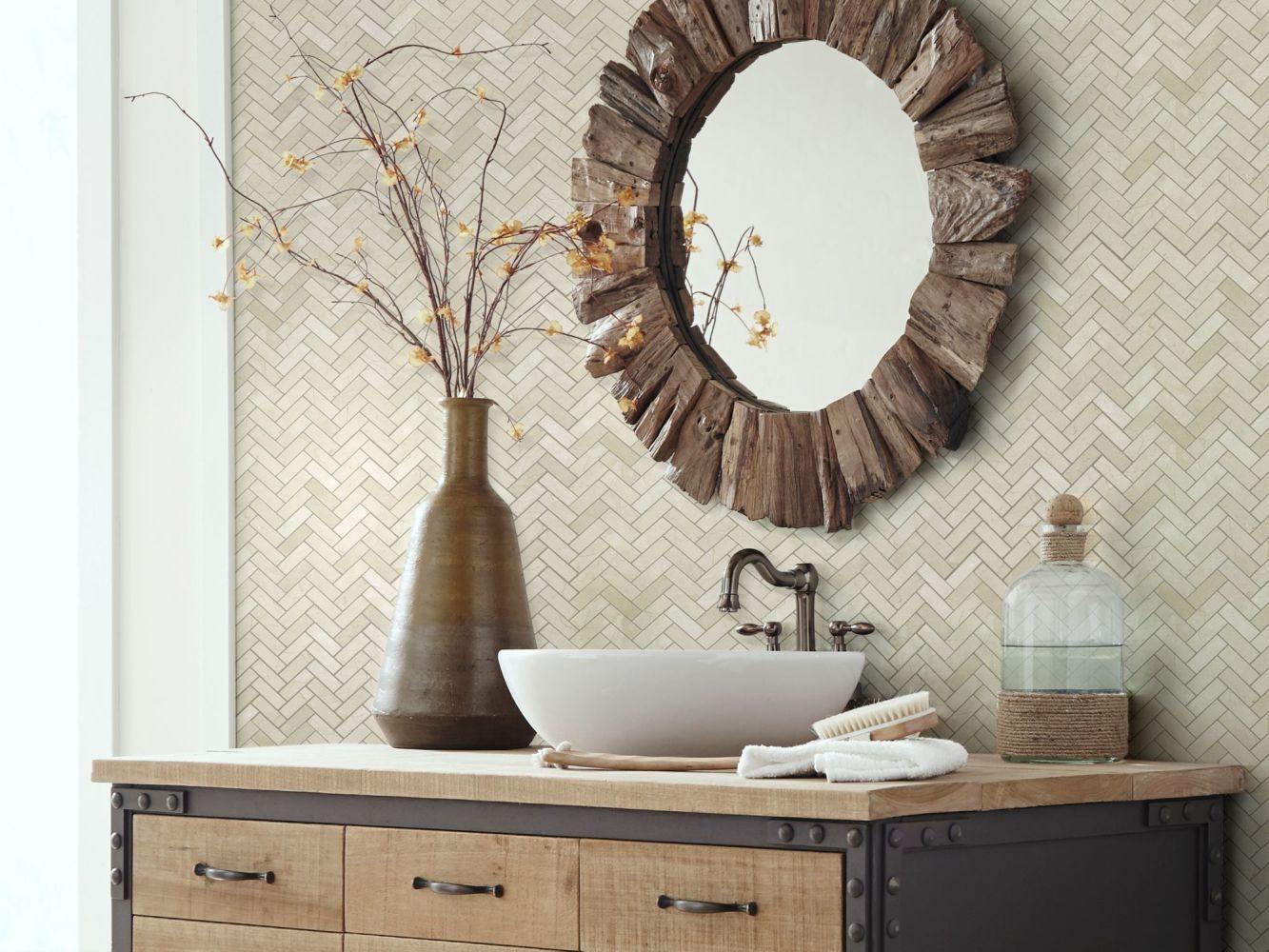 Shaw Floors Home Fn Gold Ceramic Estate Herringbone Mosaic Crema Marfil 00200_TGN88