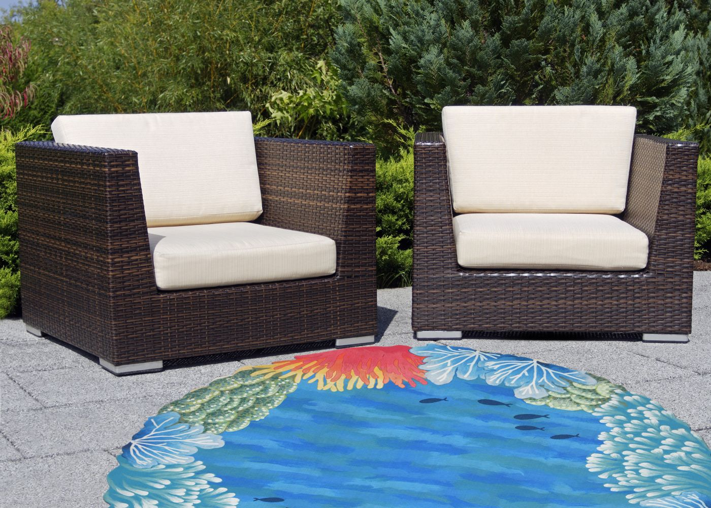 Liora Manne Visions Iv Casual Blue 8'0″ x 8'0″ Round VGHD8413703