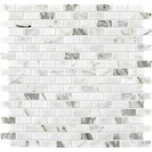 Daltile Marble Collection Venetian Calacatta 1/2 X 1 Brickjoint Mosaic Polished White/Cream M474121BJMS1L