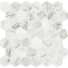 Daltile Marble Collection Venetian Calacatta 2 X 2 Hexagon Mosaic Polished White/Cream M4742HEXMS1L