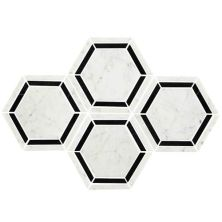 Daltile Marble Collection Black/White Blend 6″ Hexagon Mosaic (polished) White/Cream M7536HEXMS1L