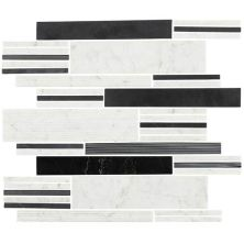 Daltile Marble Collection Black/White Blend Multi Modern Linear Mosaic (polished, Honed And Scraped) White/Cream M753MODLINMS1L