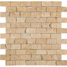 Daltile Travertine Collection Fossil Ridge Cross Cut 1×2 Mosaic (splitface) Beige/Taupe T10212SF1S