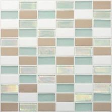 Daltile Coastal Keystones Trade Wind 2 X 1 Straightjoint Mosaic White/Cream CK8621PM1P
