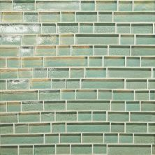 Daltile Glass Horizons Sea Glass Random Linear Mosaic Blue GH0234RANDPM1P
