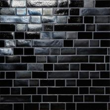 Daltile Glass Horizons Black Sand Random Linear Mosaic Gray/Black GH0934RANDPM1P