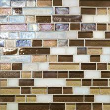 Daltile Glass Horizons Mediterranean Blend Random Linear Mosaic Beige/Taupe GH1234RANDPM1P
