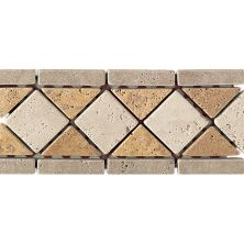 Daltile Travertine Collection Antalya Dark/Sienna Gold/Mediterranean Ivory (Diamond Accent) TS67412BR1P