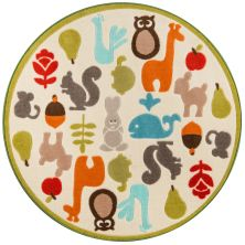 Momeni Mini Mo Pla-1 Baby Wild Things Ivory 4'4″ x 4'4″ Round PLAYTPLA-1IVY444R