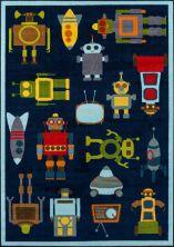 """Momeni Mini Mo Pla-2 Robots Blue 4'11"""" x 7'0″ PLAYTPLA-2BLU4B70"""