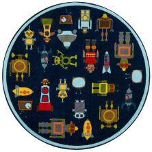 Momeni Mini Mo Pla-2 Robots Blue 4'4″ x 4'4″ Round PLAYTPLA-2BLU444R